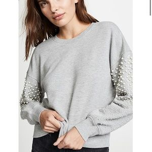 Joie Sweatshirt with Pearl Sleeves Small